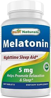 BEST NATURALS Melatonin 5 mg 180 Tablets, 0.02 Pound