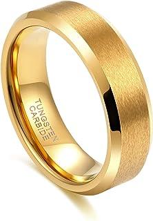 Greenpod 4mm 6mm Tungsten Carbide Ring for Men Women Beveled Edge Brushed Silver/Silver Blue/Black/Black Blue/Gold Wedding...