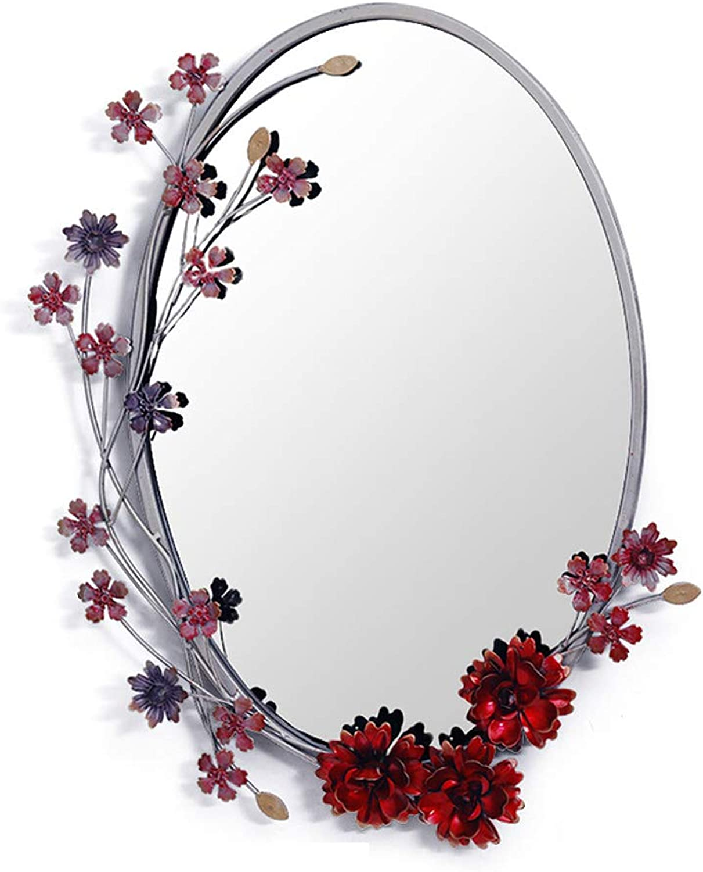 ZYear European Creative Oval Wall Mirror Garden Wreath Red Art Iron Vanity Mirror for Bathroom