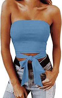 TWGONE Off Shoulder Crop Tops for Women Sexy Knot Front Top Solid Strapless Vest Bow Tank Blouse