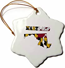 3dRose orn_58741_1 Maryland State Flag in The Outline Map and Letters for Maryland-Snowflake Ornament, Porcelain, 3-Inch