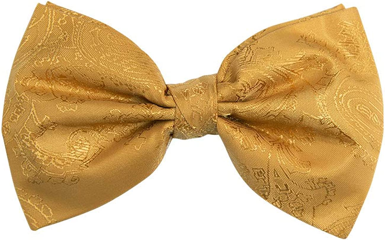 Dobell Mens Mustard Paisley Bow Tie Pre-Tied