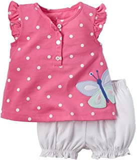 Weixinbuy Baby Girls' Polka Dots Vest Shirts Tops + Bloomer Shorts Clothing Sets