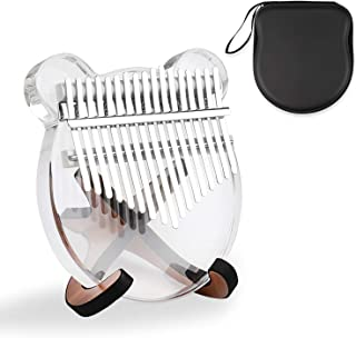 Mr.Power 17 Keys Kalimba Portable Transparent Acrylic Mbira Thumb Piano for Beginners with Tuning Hammer, Bag, Wooden Stan...