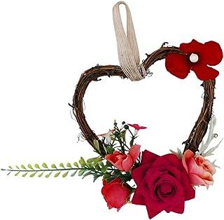 Fenteer Blumenkranz Blütenkranz Türkranz Wandkranz Hochzeitskranz - rot