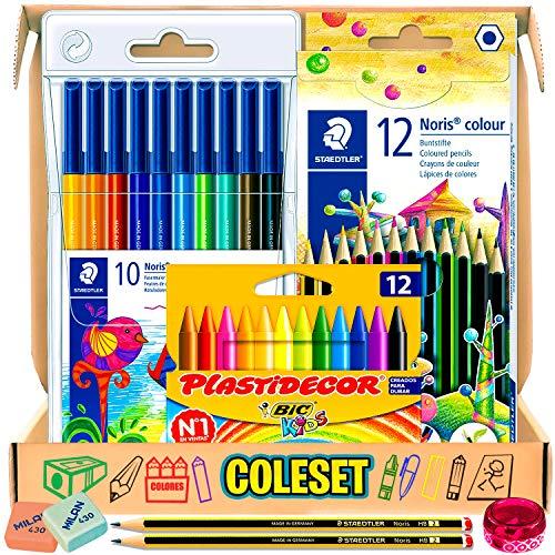 HAZ FELIZ A LOS PEQUES! - Ofreciéndoles este pack escolar como un regalo en material escolar bonito. Con el que podrán dibujar, colorear y hacer sus manualidades en el colegio o bien en casa CAJA REGALO SORPRESA ÚTIL COMO ESTUCHE - Es un regalo origi...