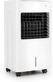 Oneconcept Freeze Me - Enfriador de Aire 3 en 1, Ventilador, Humidificador de Aire, 75 W, Caudal de 400 m³/h, 3 Tipos de Viento, Depósito de Agua 8 L, Función NatureWind, Temporizador, Blanco Floral