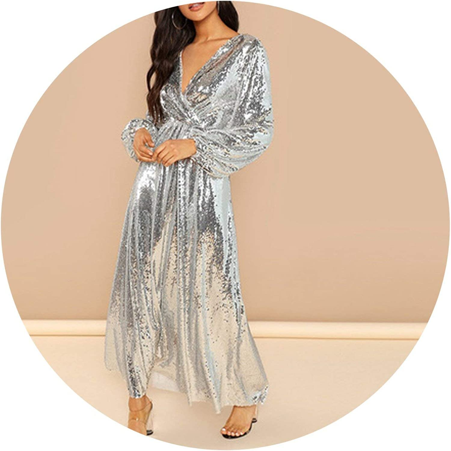 Leifun Silver Sleeve Wrap Front Sequin V Neck Fit and Flare Long Sleeve Dress Elegant Dresses Women Dress