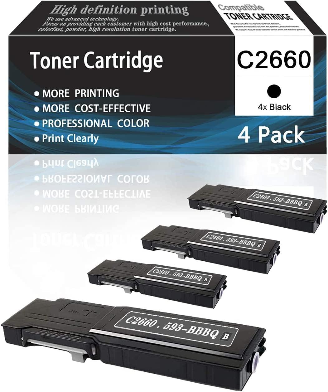 4 Pack C2660 593-BBBQ Black TonerCartridgeCompatibleforDell Printer C2660 C2660dn C2665dnf Printers Toner Cartridge,Sold by AcToner.