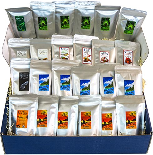 Länderkaffee aus aller Welt Buntes Probierpaket 24 leckere Sorten je 25g mit Kopi Luwak Kaffee (von freilebenden Tieren!) (ganze Bohnen)