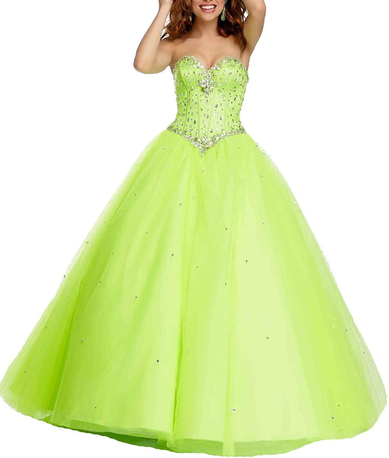Dearta Women's Ball Gown Sweetheart FloorLength Crystals Quinceanera Dresses