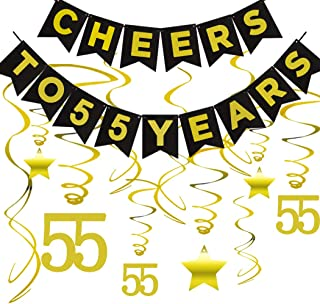 55th BIRTHDAY PARTY DECORATIONS KIT - Cheers to 55 Years Banner, Sparkling Celebration 55 Hanging Swirls, Perfect 55 Years Old Party Supplies 55th Anniversary Decorations