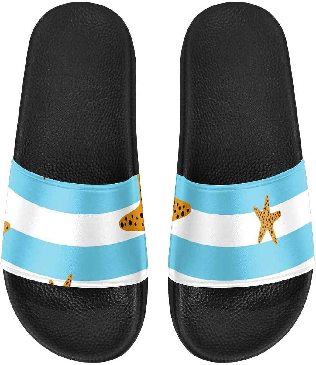 InterestPrint Women's Casual Slide Sandals for Indoor Outdoor Night Sky Unicorn