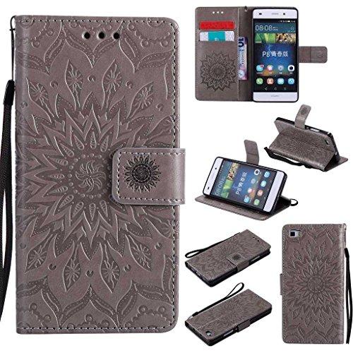 KKEIKO Huawei P8 Lite Funda, Huawei P8 Lite, funda de piel con tapa, a prueba de golpes y funda tipo cartera para Huawei P8 Lite (gris)