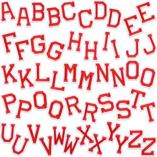 WILLBOND 52 Pezzi Patch di Lettere Ettere Cucite su Appliques con Adesivo Stirato Toppe Decorative di Riparazione Ricamate Lettera A-Z per Scarpe Cappello Borsa Abbigliamento Forniture (Rosso)