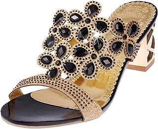 ACHICOO Women Fashion Thick Heel Crystal Slipper Sandals