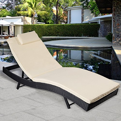 Premium Adjustable Lounge Chaise Chair Furniture for Outdoor Deck Garden Beach Patio or Poolside. Black Color