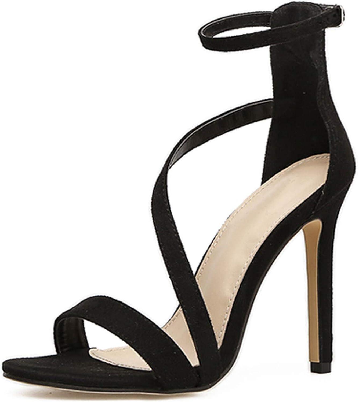 Women Sandals Open Toed High Heels Sexy Buckle Strap Women Cover Heel Sandals Pumps Black