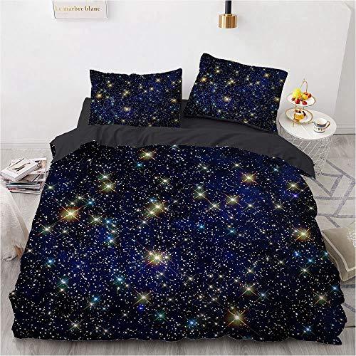 BATTE - Juego de funda de edredón reversible con diseño de luna/galaxia, funda de edredón suave con fundas de almohada para niños y niñas, para dormitorio o regalo