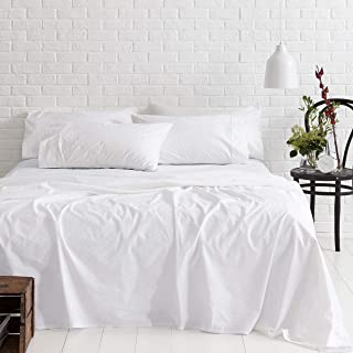 Threads Collection 1000 Thread Count 100% Egyptian Cotton Branded 4 Piece Bed Sheet Set , Cal-king , White Solid Premium 1000TC Fits Mattress Upto 18'' Deep Pocket