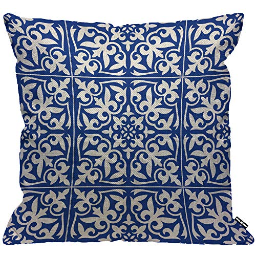 HGOD DESIGNS Moroccan Tile Cushion Cover,Ikat Damask Traditional Floral Cobalt Blue and White Throw Pillow Case Home Decorative for Living Room Bedroom Sofa Chair 18X18 Inch Pillowcase 45X45cm