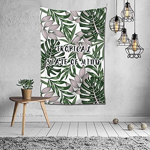 Tapiz para colgar en la pared, diseño de hojas tropicales, verde y blanco, para dormitorio, decoración psicodélica, 152 x 101 cm