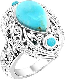 Belinda Jewelz Womens Sterling Silver Antique Balinese Pear Gemstone Fine Ring