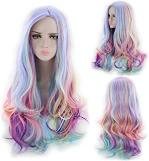 TopWigy Curly Cosplay Wigs Rainbow Heat Resistant Long Colored Costume Wigs Anime Party Multicolor Wig (Multi Color 28