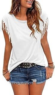 Women's Tassel Short Sleeve Round Neck T-Shirt Top Casual Summer Tee