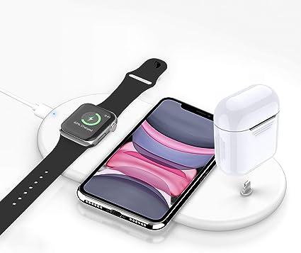 Cargador inalámbrico Rápido, Estación de Carga Rápida Qi Inalámbrica 3 en 1 Soportes de Carga de para iPhone 11/11 Pro Max / X / XS Max / 8 Apple Watch Charger 5 4 3 2 1 Airpods Pro 1 2 y Qi-Enabled