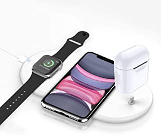 Wireless Charger, 3 in 1 Wireless Charging Stand Pad for Apple Watch iPhone Airpods, Wireless Charging Station compatible for iPhone 11/Pro/X/XR/Xs/8 Plus Apple Watch Charger 5 4 3 2 1 Airpods1 2 Pro