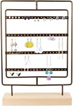 DesignSter Rotating Metal Earring Organizer - Wooden Jewelry Display Stand Holder/ 76 Holes for Hanging Dangle Earrings/Classic Jewelry Showcase Tower (Coffee Color)