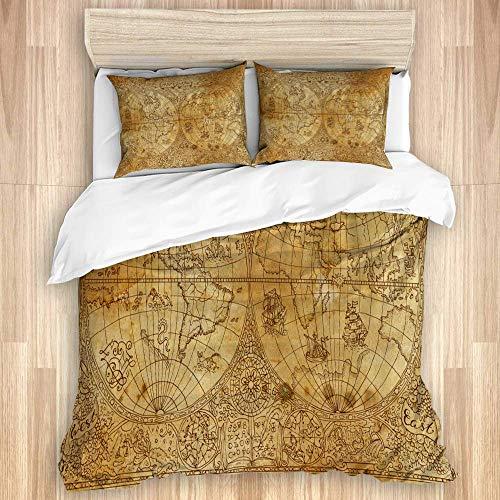 Juego de funda nórdica de 3 piezas, mapa del mundo antiguo de Atlas antiguo, juegos de fundas de edredón de microfibra de lujo para dormitorio, colcha con cremallera con 2 fundas de almohada