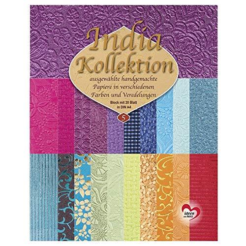 Handgeschöpftes Deko-Papier | India Kollektion | Hochwertig veredelt | DIN A4 | Block mit 20 Blatt (Sortierung 5)