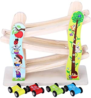 GEDIAO Wooden Ramp Racer Track Toys Set with 4 Mini Car Racers, Race Toys Gifts for Toddlers