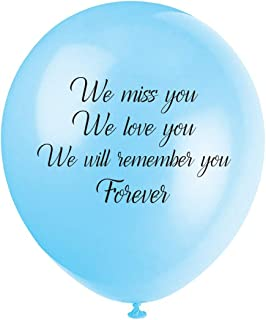 "MAGJUCHE Blue Funeral Remembrance Balloons, 16pcs ""we Miss You, we Love You, we Will Remember You Forever"" for Memory Table, Memorial, Condolence, Celebration of Life"
