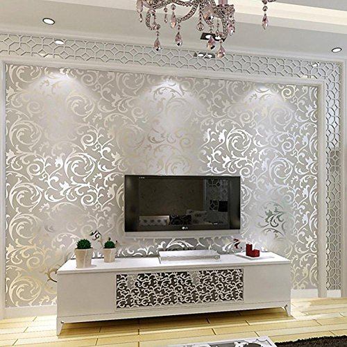 Elaco Home Sticker, 10M Silver 3D Victorian Damask Embossed Wallpaper Rolls Home Art Decor (Silver)