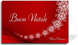 Italian Merry Christmas Greeting Card - Red Sloping Snowflakes (Florentine Cursive Font) 10 Cards