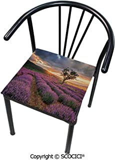 SCOCICI Comfort Memory Foam Square Chair Cushion Idyllic Landscape with Rising Sun and Endless Rows Lavender Field in Full Blossom for Home Softness Chair Pads 16