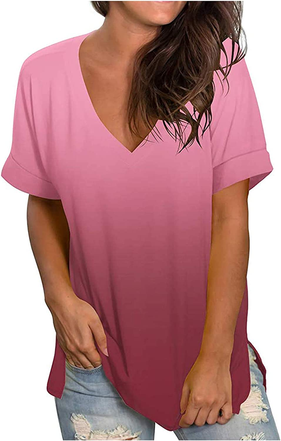 Womens Tops Summer Tops for Women Plus Size, Short Sleeve V Neck T-Shirt Casual Loose Fit Shirts Blouses Tops