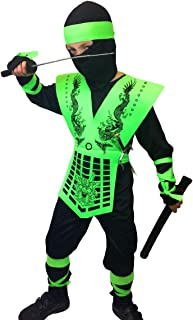 Neon Ninja Costumes, Rubber Johnnies, Kids, 3 Sizes, Orange and Green