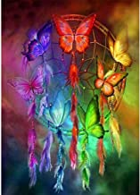 MXJSUA DIY 5D Diamond Painting by Number Kits Round Drill Rhinestone Embroidery Cross Stitch Picture Art Craft Home Wall Decor Butterfly Dream Catcher 12x16In