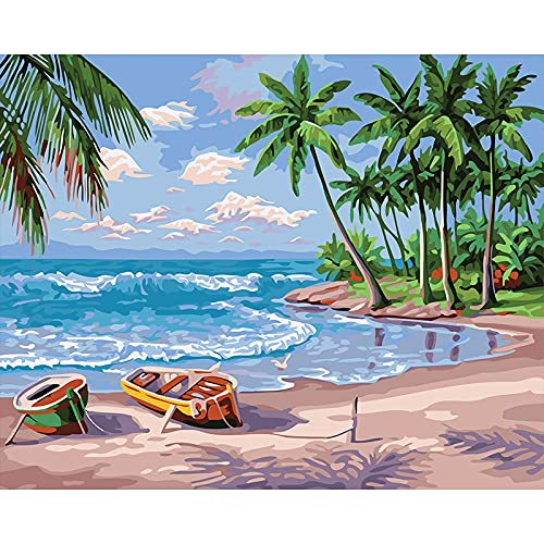 QSDFASF Pintura al óleo de Bricolaje, Pintura por números, Pintura por números para Adultos, niños, Principiantes,16 x 20 Pulgadas sin Marco(Bote de Playa)