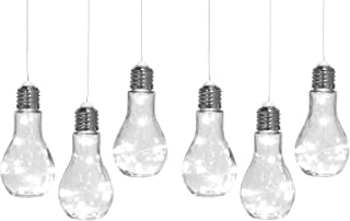 Home Trends, Set of 6, Hanging Edison Bulb Light Bulbs, Decorative Glass Indoor Or Outdoor String Lights, Lanterns, Lamps for Patio, Backyard, Party Lighting, Weddings