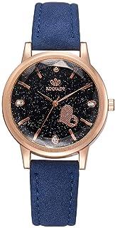Stylish watch Women's Watch Quartz Wrist Watch Starry Sky Watch with Round Dial Inlaid Rhinestone Heart Watch for Elegant Female,Green Watch (Color : Blue)