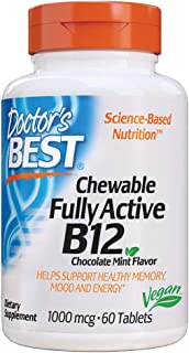 Doctor's Best Chewable Fully Active B12 Chocolate Mint Flavor, Memory, Mood, Circulation & Well-Being, 1, 000mcg, 60 Tablets