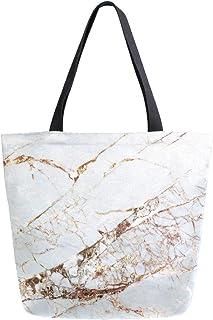 Mnsruu Mnsruu Wiederverwendbare Einkaufstasche aus Segeltuch, Hipster-Design, Gelb / Grau, Marmor, Reisetasche, College-Büchertasche, für Damen und Mädchen