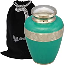 Classic Avalon Cremation Urn with Silver Sunflower Bands - 100% Handcrafted Adult Urn - Solid Metal Large Urn for Human Ashes - Funeral Urn with Free Bag (Teal)