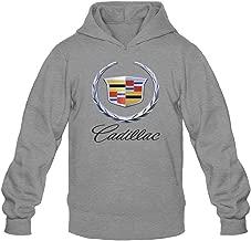 XIULUAN Men's CADILLAC Logo Hooded Sweatshirt XXL Dark Grey