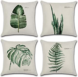 DUSEN Decorative Cotton Linen Set of 4 Throw Pillow Cushion Covers 18 x 18 inch for Sofa, Bench, Bed, Auto Seat (Green Leaves Pattern) Tropical Leaves
